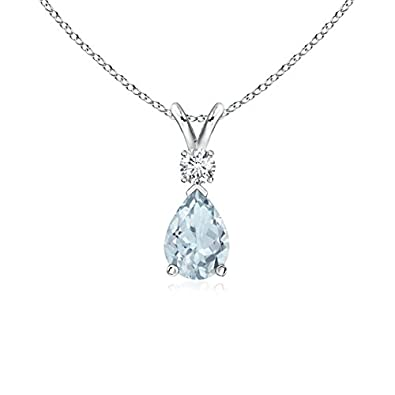 Angara Pear Shaped Aquamarine Teardrop Necklace in White Gold aCBQ9r1nG