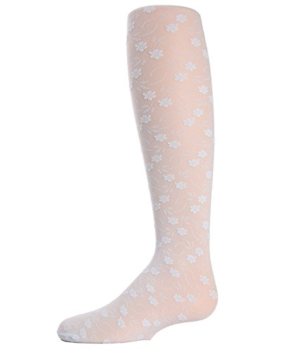 MeMoi Floral Lace Tights for Girls | Sheer Floral Tights Light Blue MK 212 6-8.