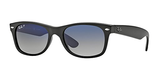 Ray Ban RB2132 601S78 55M Matte Black/Polarized Blue Grad. Grey NEW - Ray Black Ban Wayfarer Matte