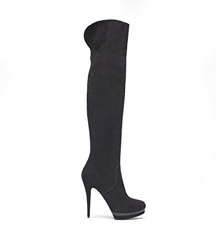 Poi Lei PoiLei Delilah - Damen-Schuhe/Elegante High-Heel Overknee-Stiefel Aus Velours-Leder - Spitz-Zulaufend, mit Stiletto-Absatz und Plateau - Schwarz