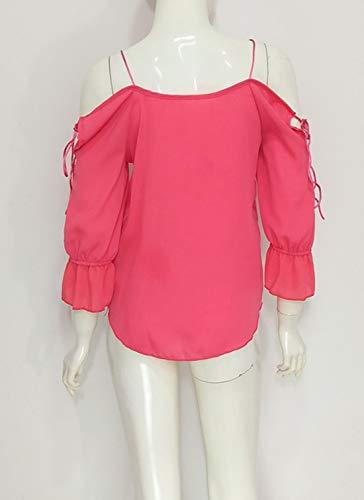 Simple Up Autunno Pin Campana Blouse A Bluse Primavera Maniche Shirts Rossa E fashion Maglietta Schiena Donna Camicie Tops Rosa Giovane Sexy Moda Nuda rZrfq