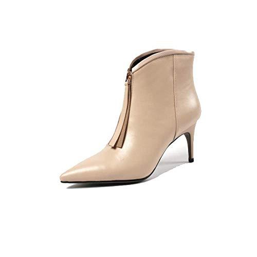 Chaussures Fermetures Simple Confort ZPEDY Talons Hauts Femmes Polyvalent éclair pour Beige Mode pApwdOZq