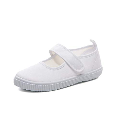Je-Gou Boy's Girl's White Canvas Mary Jane Flats Fashion Sneakers(Toddler/Little Kid) (1 M US Little Kid, White)