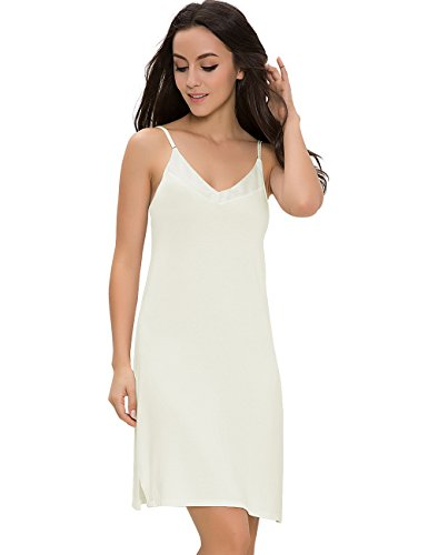 GYS Womens Satin V Neck Bamboo Full Slip Dress(Black,white,S-2XL,One Piece) (L (Bust 35.8