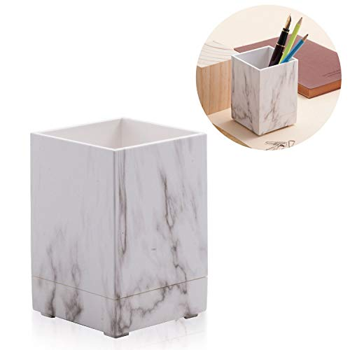 Zodaca Marble Pen Holder, Square Pencil Makeup Brush Organizer with Marble Print, Modern Design Matt Finish, Beautiful Stationery for Office, Home, Schools Supplies, Great Gift Idea