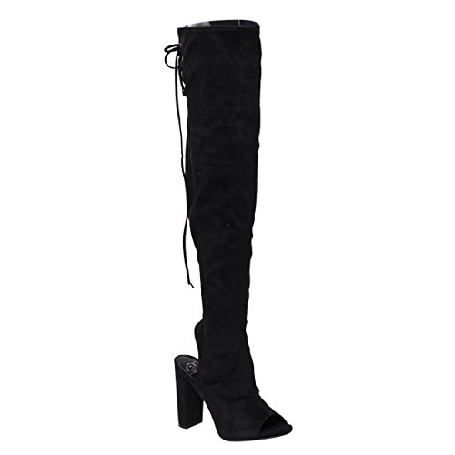 Toe Knee Heel Back Faux The Suede Delicious Over Black Chunky Stretchy Block Open Open Women's Boot UOvwXR