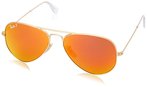 Ray-Ban RB3025 Aviator Flash Mirrored Sunglasses, Matte Gold/Polarized Orange Flash, 58 ()