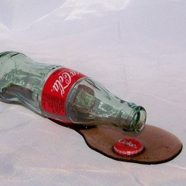 New! Real Looking Faux Spilled Bottle of Coca - Fake Real Looking Glasses