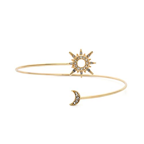 BELUCKIN Minimalist Gold Metal Moon Star Upper Arm Cuff Open Arm Bracelet Armlet Armband Bangle Jewelry