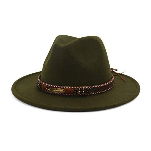 Vim Tree Men Women Ethnic Felt Fedora Hat Wide Brim Panama Hats with Band Green L (Hat Circumference 22.8