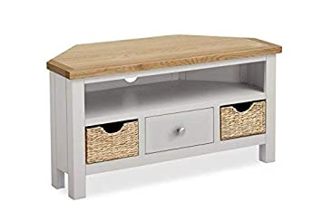 buy online 4f6ce 92783 Farrow Grey Painted Corner TV Stand with Baskets - Painted TV Unit