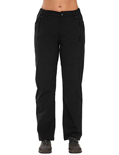 Zeagoo Women Lightweight Waterproof Quick Drying Mountain Hiking Rain Work Cargo Pants Black XX-Large (Waterproof Hiking Pants)