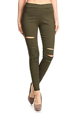 Jvini Women's Pull-On Ripped Distressed Stretch Legging Pants Denim Jean (Large, Army Green)