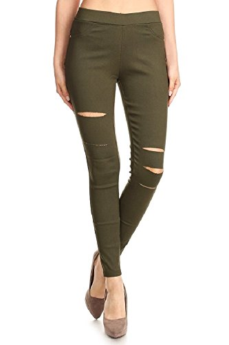 Jvini Women's Pull-On Ripped Distressed Stretch Legging Pants Denim Jean (Large, Army Green) ()
