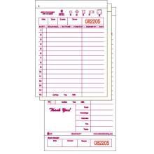 National Checking Company Carbonless Guest Check Board - 3 Part Maroon, 15 Line, 4.20 x 8.50 inch -- 2000 per case. by National Checking