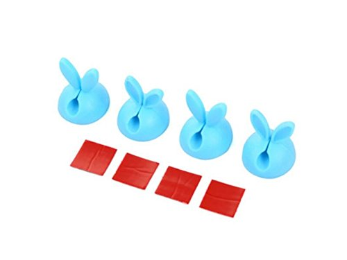 DOOUYTERT 4 Pcs Rabbit Ears Cable Clip Desk Tidy Organiser USB Wire Cord Lead Holder (Blue)