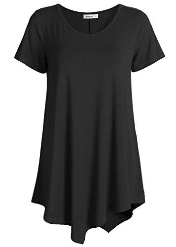 Esenchel Women's V-Neck Swing Shirt Casual Tunic Top for Leggings XL Black (Cheap Long Shirts To Wear With Leggings)