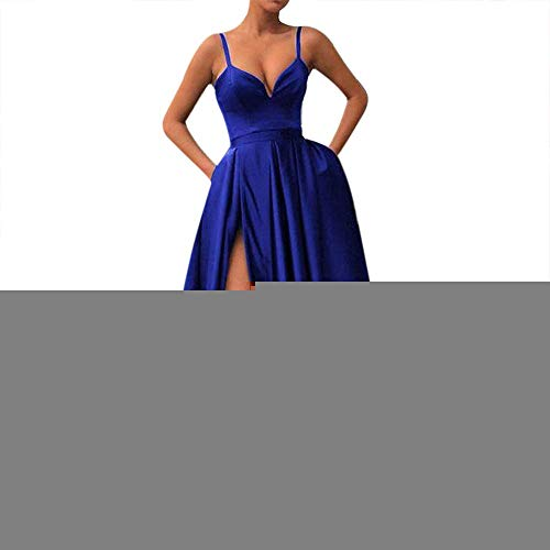 Fanciest Women's Spaghetti Straps Slit Satin Prom Evening Dresses with Pockets Royal Blue ()