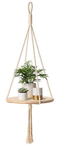 Mkono Wood Hanging Shelf Indoor Macrame Plant Hanger Decorative Flower Pot Holder Boho Home Deco, 40″