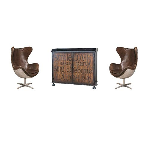 Pulaski Two Door Bar Cabinet with Bottle Storage and 2 Swivel Aviation Chairs ()