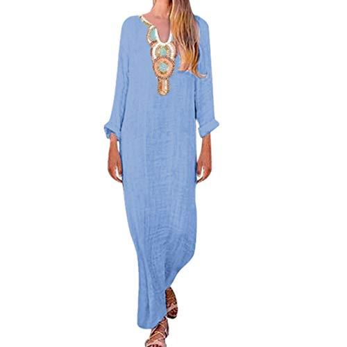 TOOPOOT Summer Dress for Women, New 2019 Long Sleeve U-Neck Maxi Dress Split Hem Baggy Kaftan Long Loose Dress Blue ()