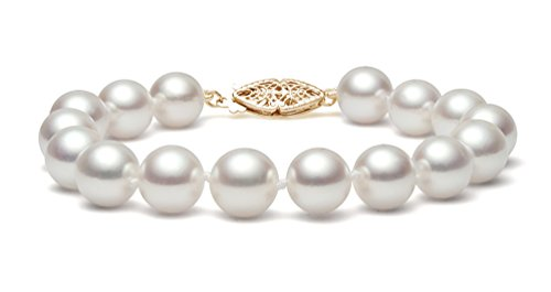 14K Or jaune perle de culture d'eau douce blanc bracelet de qualité AAA (6,5-7mm), 20,3cm