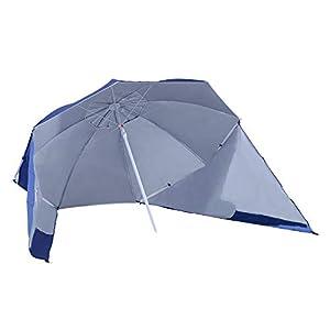 Outsunny Sombrilla de Playa con Paneles Laterales Tipo Tienda Parasol para Protección de Rayos UV Φ210x222cm Azul