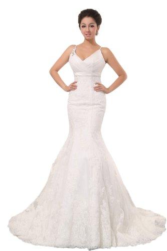 Spaghetti Straps Lace Trumpet Watteau Train Bridal Dress US-26W White (Watteau Train)