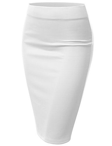 J.TOMSON Womens Stretchy Mid Length Pencil Skirt WHITE S