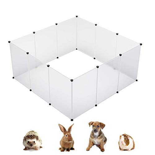 KOUSI Small Animal Pen Indoor Fence Animal Pen Plastic Fence Large Dog Pen Plastic Play Yard Plastic Dog Pen Rabbit Pen Small Pet Playpen, Large 59x59x27.6(in), Transparent