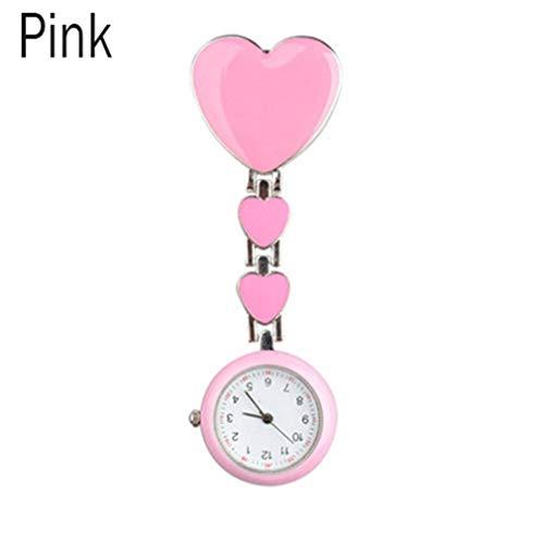 Nurse Love Heart Shaped Watch Pocket Brooch Clip Medical Nurse Pocket Nursing Watch LL@17 Pink ()
