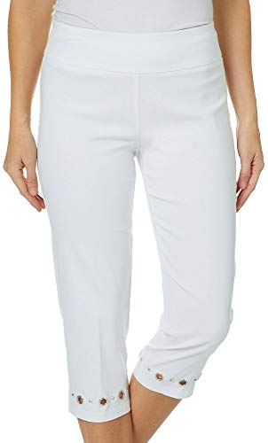 Zac & Rachel Womens Grommet Hem Pull On Capris 16 White for sale  Delivered anywhere in USA