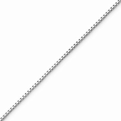 10k Gold Solid Box Chain Necklace with Lobster Clasp (0.8mm) - White-Gold, 16 in