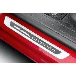 Citroen - Juego de 2 tapacubos de umbrales de puerta delantera, aluminio cepillado: Amazon.es: Coche y moto