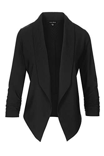 Ruched Sleeve Jacket (Instar Mode Women's Lightweight Fly Away Thin Chiffon Ruched Sleeve opened Blazer (Black, Small))