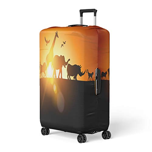 Semtomn Luggage Cover Jungle Sunset Safari Wildlife Silhouetted Against Animal Silhouette Africa Travel Suitcase Cover Protector Baggage Case Fits 18-22 Inch (Silhouetted Bird)