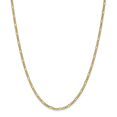 - 14k Yellow Gold 2.5mm Link Figaro Chain Necklace 16 Inch Pendant Charm Fine Jewelry Gifts For Women For Her
