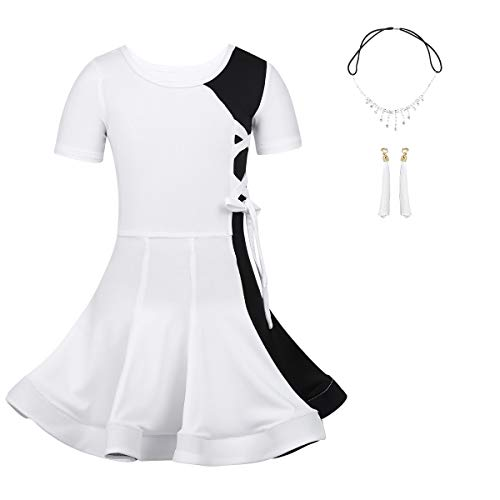ranrann Girls 3PCS Color Block Professional Latin Dance Dress with Headwear Earrings Set Outfits White 12-14