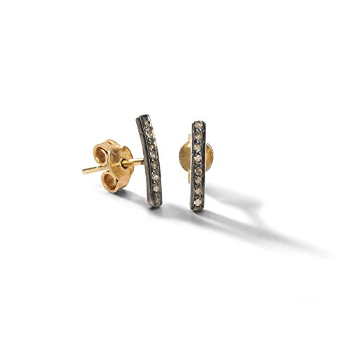 Tiny Bar Stud Rose Cut Natural Diamond 925 Sterling Silver Earrings Handcrafted Antique & Gold Finish Jewelry ()