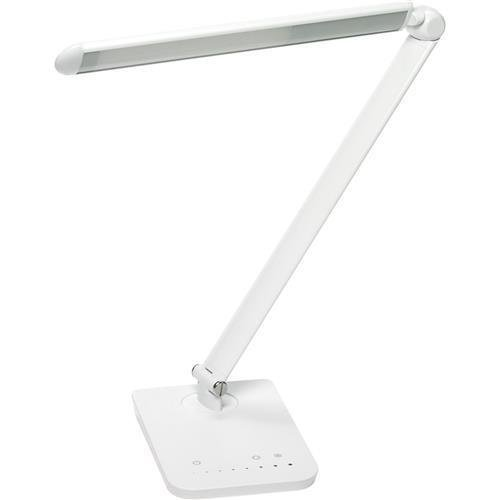 1001WH Safco Vamp LED Flexible Neck Light - 16.8'' Height - 5'' Width - LED Bulb - Dimmable, Flexible, USB Charging - 550 Lumens - ABS Plastic, Aluminum - Desk Mountable - White by Safco