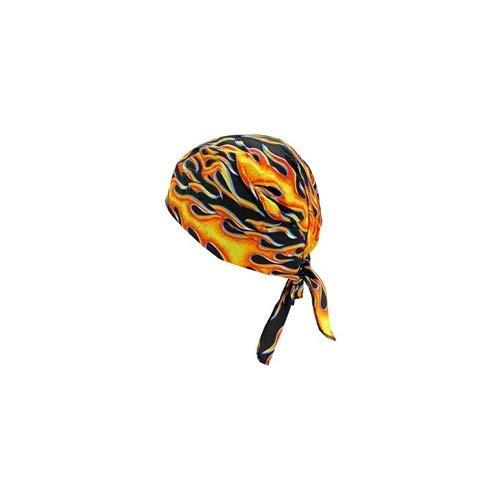 (Occunomix TN6 Tuff Nougies Deluxe Tie Hat Doo Rag with Elastic-Big Flame)