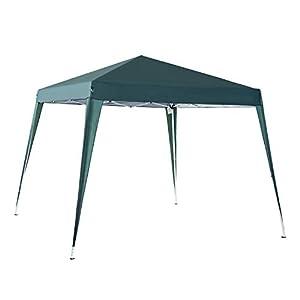 Outsunny Carpa Cenador Plegable para Exterior para Jardín Camping Fiesta Tienda Eventos – Color Verde Oscuro – Acero y Oxford – 3 x 3m