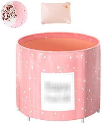 折りたたみ式浴槽貸し出し風呂折りたたみ式浴槽全身浴槽厚くて暖かいインフレータブル浴槽折りたたみ式の収納浴槽 浴室用設備 (Color : Pink, Size : 70*68cm)