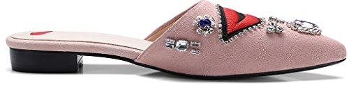 Calaier Mujer CaInternet Bloquear 1.5CM Cuero Ponerse Zuecos Zapatos Rosa