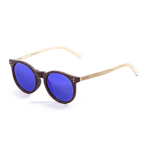 Ocean Sunglasses Lizard Lunettes de soleil White Transparent Frame/Wood Natural Arms/Revo Blue Lens M9a3cZyT8C