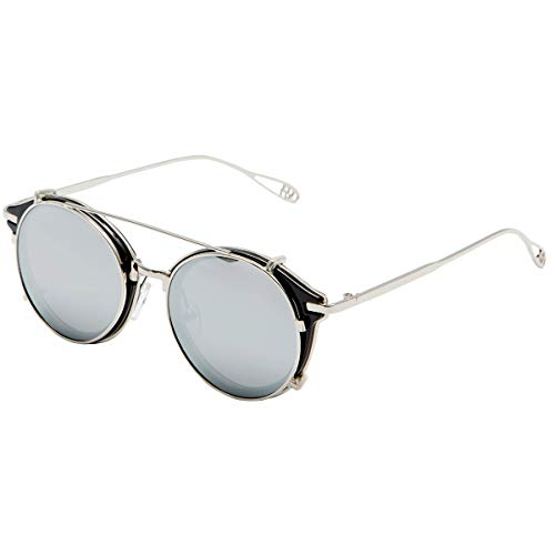 Dollger Clip On Sunglasses Steampunk Retro Style and Round Mirrored Lens