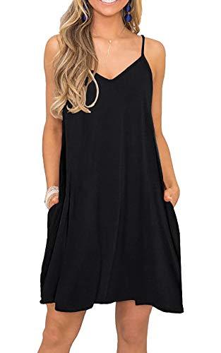 VIISHOW Women's Sleeveless Loose Plain Dresses Casual Short Dress with Pockets Sleeveless Royal blue L