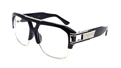 Gazelle B-Boy Square Metal & Plastic Retro Aviator Sunglasses (Black & Silver Frame, ()