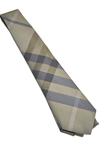 Burberry London 100% Silk Men's Tie Olive Brown