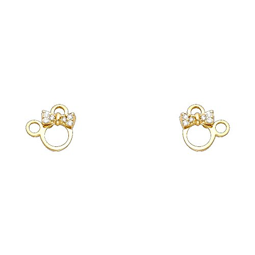 14k Yellow Gold Mouse Stud Earrings with Screw Back (Minnie Gold Mouse 14k)